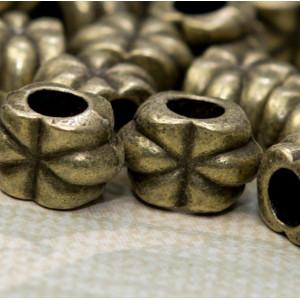 Бусина-тоннель металлическая, античная бронза, 12х8х7 м...
