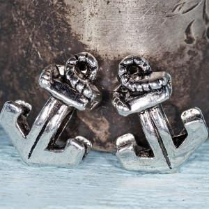 Бусина-тоннель металлическая, античное серебро, 16x11,5...