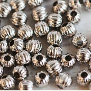 Бусина металлическая ребристая, платина, 6 мм (уп 6г)...