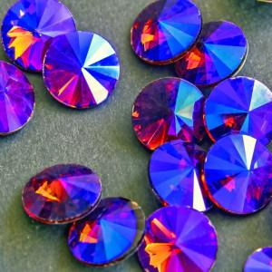 Кабошон стеклянный круглый Риволи, фиолетовый радужный,...