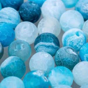Матовые бусины агата, с трещинками, цвет ярко-голубой, ...