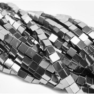 Бусина гематит немагнитный, куб, цвет черный, 4х4х4 мм