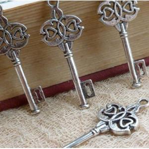 Подвеска металлическая в виде ключа, античное серебро, ...