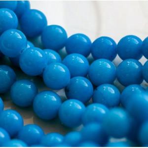 Бусина имитация нефрита, круглая, цвет ярко-голубой, ок...