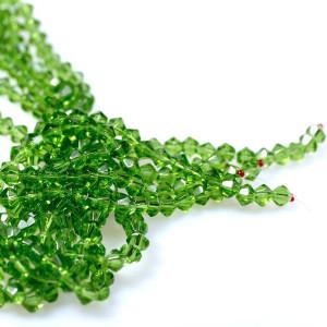 Бусина биконус стеклянная, зеленый, 6 мм...