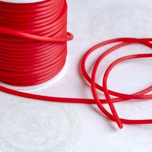 Шнур резиновый, с отверстием, цвет красный, диаметр 3 м...