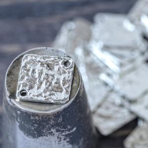 Коннектор 1-1 отв., цвет античное серебро, 22,5x22,5x1 ...