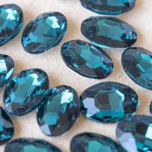 Кабошон стеклянный с гранями, овал, морской синий, 18х1...