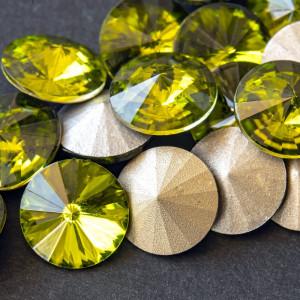 Кабошон стеклянный круглый Риволи, оливковый, 14х7 мм...