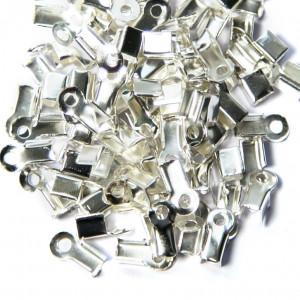 Зажим-концевик для шнура, цв. серебро, 9x3,5x4 мм (в уп...