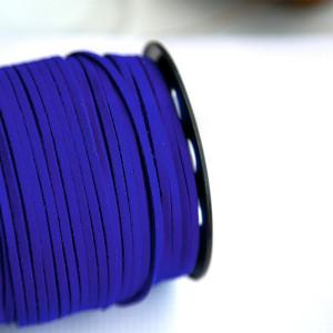 Шнур из искусственной замши, чрко-синий, 3х1,4 мм...