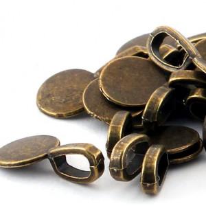 Бейл с платформой для кабошона, античная бронза, 10х19 ...