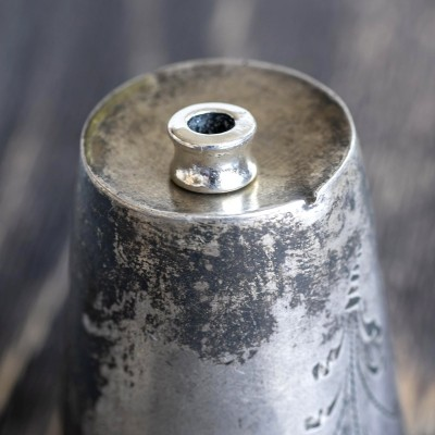 Бусина-тоннель металлическая, античное серебро, 8х5,5 мм