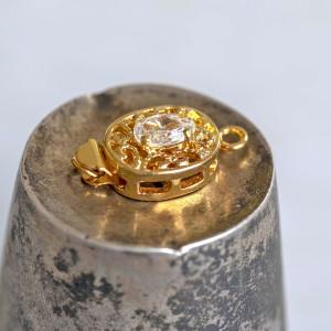 Замок для украшений, стразик, цвет - золото, 19x10x6 мм...