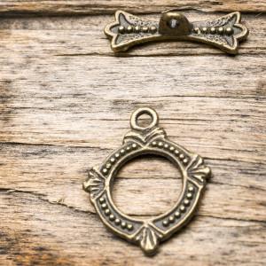 Застежка - тоггл, античная бронза, 14.5х18х1.5 мм - 6х1...
