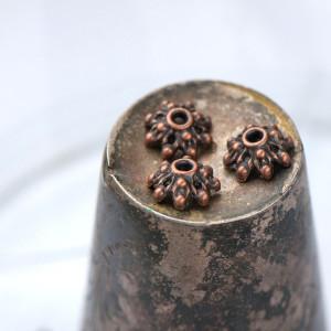 Чашечка (шапочка) для бусин, красная медь, 9.5х3.5 мм...
