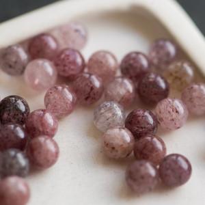 Бусина клубничный кварц, розовый/винный, 8 мм...