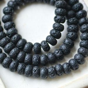 Бусина из натуральной лавы 8,5 мм, цвет черный...