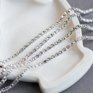 Цепочка для бижутерии со стразами, цвет Cristal/серебро...