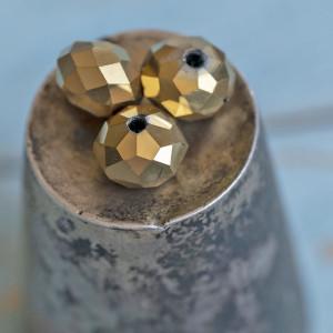 Бусина абакус стеклянная граненая, светло-золотой, 10х7...