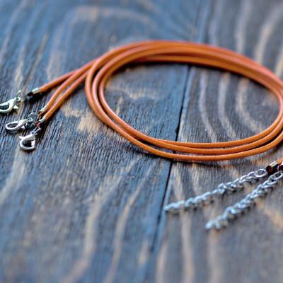 Основа для ожерелья, вощеный шнур, тусклый оранжевый, 450х2 мм