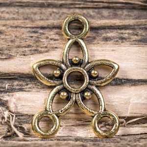 Коннектор 1-2 отв, античное золото, 17,5х12х2 мм...