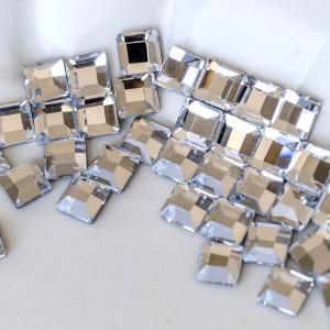 Термоклеевые стразы с огранкой Square, прозрачный, 4х4 ...