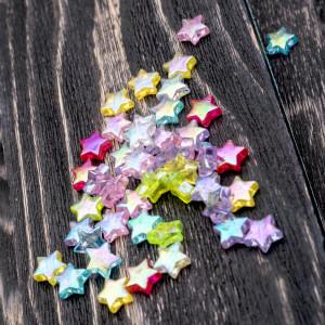 Бусина-звездочка акриловая, цветовой микс, 10х4 мм...