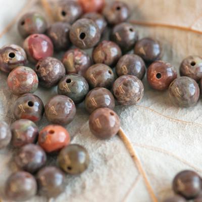 Бусина агат цветочный, круглая, цвет оливковый, 6 мм