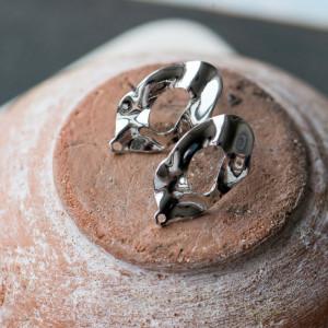 Пуссеты-гвоздики, покрытие платина,  24,5x13 мм...