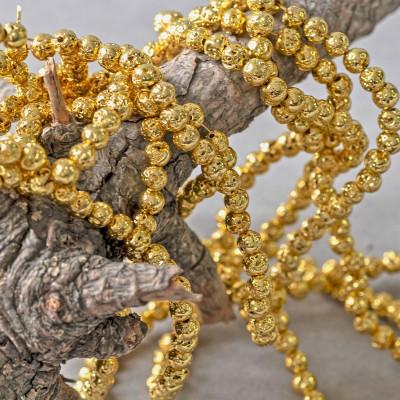 Бусина из натуральной лавы 4 мм, цвет золотистый
