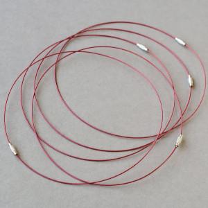 Чокер сталь в оплетке, красный, 44.5 см толщина 1 мм...