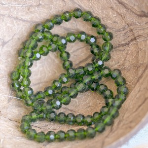 Бусина круглая стеклянная с гранями, зеленый, 4 мм  (уп...