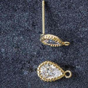 Пуссеты, покрытие Real 18K Gold Plated, с цирконием,  ц...