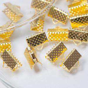 Зажим-концевик для ленты, золото, 10х7 мм