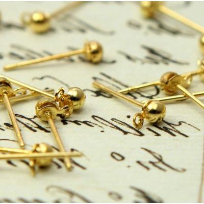 Пуссеты-гвоздики, золото, 12х3 мм