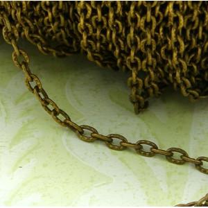 Цепочка для бижутерии, античная бронза, размер звена 1х...