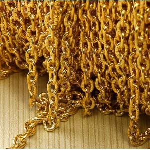 Цепочка для бижутерии, цвет - золото, размер звена 1х3....