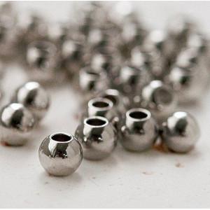 Бусины металлические, платина, 4 мм...