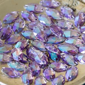 Пришивные стразы с огранкой Navette, фиолетовый с бирюз...