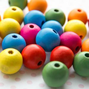 Бусина круглая деревянная, разные цвета, 25 мм...