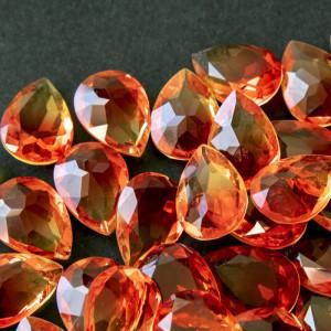 Кабошон стеклянный с гранями, капля, оранжево-красный, ...