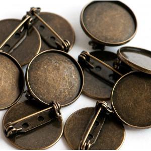 Заготовка для броши, круглая, античная бронза, 22х8 мм...