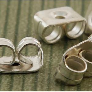 Фиксаторы (застежки) для сережек, серебро, 5.5х4х3 мм...