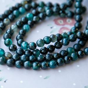 Бусины агата, граненый, цвет темно-зеленый, окрашен., 8...