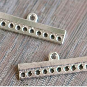 Коннектор 1-10 отв, цвет платина, 9x28x2.5 мм...