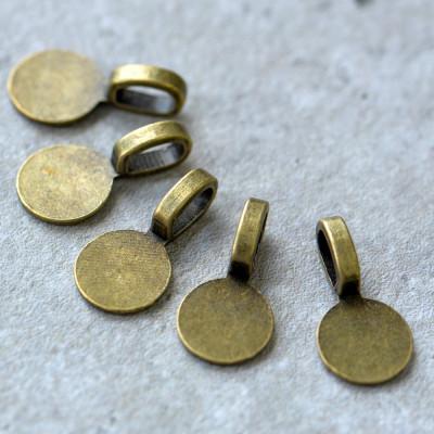 Бейл с платформой для кабошона, античная бронза, 18x10x5,5 мм