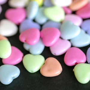 Бусина-сердечко акриловая, цветовой микс, 11x12x5 мм...