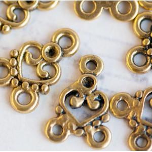 Коннектор 1-2 отв, античное золото, 15х11х2 мм...