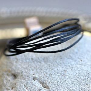 Плоский вощеный шнур синт., цвет черный, 1х0,4 мм...